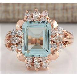 2.83 CTW Natural Blue Aquamarine Diamond Ring 14K Solid Rose Gold