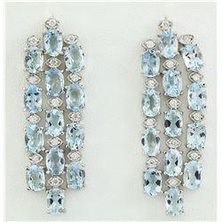 9.95 CTW Aquamarine 14K White Gold Diamond Earrings
