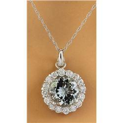 1.82 CTW Aquamarine 18K White Gold Diamond Necklace