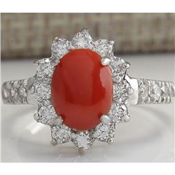 2.35 CTW Natural Red Coral And Diamond Ring 14K Solid White Gold
