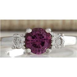 1.70 CTW Natural Pink Ceylon Sapphire Diamond Ring 18K Solid White Gold