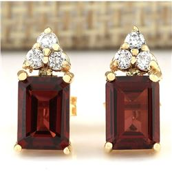 2.66 CTW Natural Garnet And Diamond Earrings 18K Solid Yellow Gold