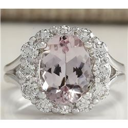3.70 CTW Natural Peach Morganite And Diamond Ring In 18K Solid White Gold