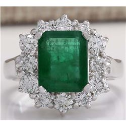 3.49 CTW Natural Emerald And Diamond Ring 14K Solid White Gold