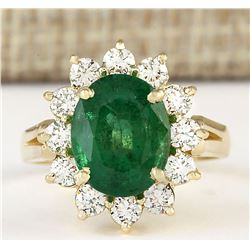 4.33 CTW Natural Emerald And Diamond Ring In 18K Yellow Gold