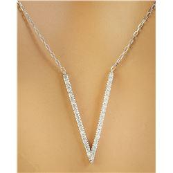 "0.40 CTW Diamond 18K White Gold ""V"" Necklace Pendant"
