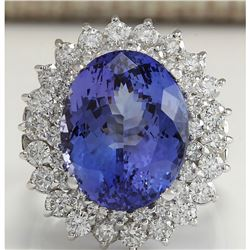 11.11 CTW Natural Tanzanite And Diamond Ring 18K Solid White Gold