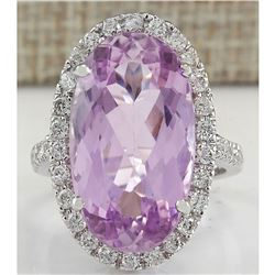 16.40 CTW Natural Kunzite And Diamond Ring 18K Solid White Gold