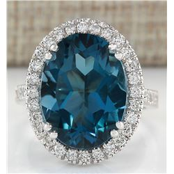 11.17 CTW Natural London Blue Topaz And Diamond Ring In 18K White Gold