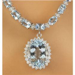 40.06 CTW Aquamarine 18K White Gold Diamond Necklace