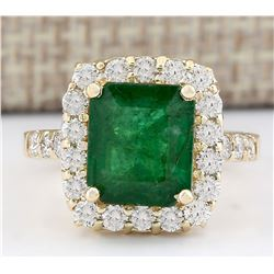 5.02 CTW Natural Emerald And Diamond Ring In 18K Yellow Gold