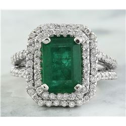 2.50 CTW Emerald 18K White Gold Diamond Ring