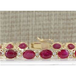 18.98 CTW Natural Ruby And Diamond Bracelet In 14K Yellow Gold
