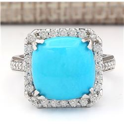 6.70 CTW Natural Turquoise And Diamond Ring In 18K White Gold