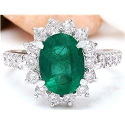 3.70 CTW Natural Emerald 18K Solid White Gold Diamond Ring