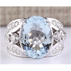 7.97 CTW Natural Aquamarine And Diamond Ring In 18K White Gold