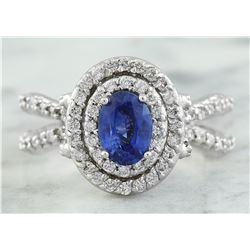 2.66 CTW Sapphire 14K White Gold Diamond Ring