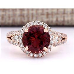 3.49 CTW Natural Pink Tourmaline And Diamond Ring 18K Solid Rose Gold