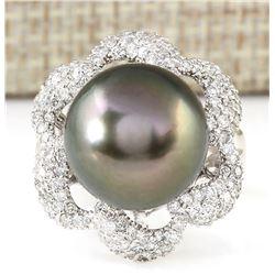 1.30 CTW Natural 14.22mm Black Pearl Diamond Ring 18K White Gold