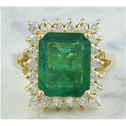 5.16 CTW Emerald 18K Yellow Gold Diamond Ring