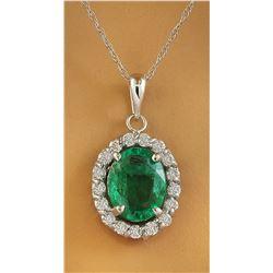 2.00 CTW Emerald 18K White Gold Diamond Necklace