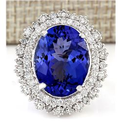 13.75 CTW Natural Blue Tanzanite And Diamond Ring 14k Solid White Gold