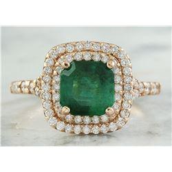 2.25 CTW Emerald 18K Rose Gold Diamond Ring