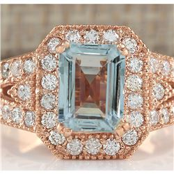 3.12 CTW Natural Blue Aquamarine Diamond Ring 18K Solid Rose Gold