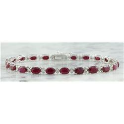 11.95 CTW Ruby 18K White Gold Diamond Bracelet