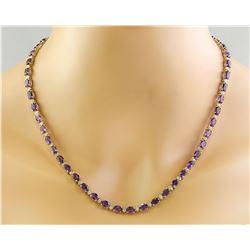 27.50 CTW Amethyst 14K Yellow Gold Diamond Necklace