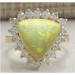 4.77 CTW Natural Opal And Diamond Ring In 18K Solid Yellow Gold