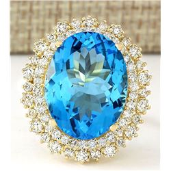 18.42 CTW Natural Blue Topaz And Diamond Ring In 14k Yellow Gold
