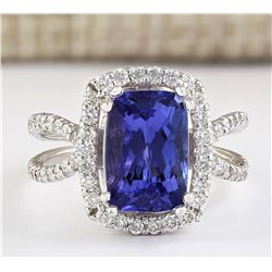 5.02 CTW Natural Blue Tanzanite And Diamond Ring In 18K White Gold
