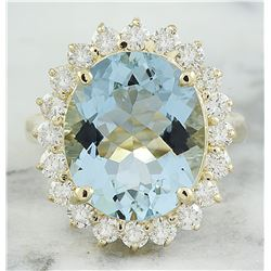 7.16 CTW Aquamarine 14K Yellow Gold Diamond Ring