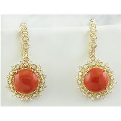 8.90 CTW Coral 14K Yellow Gold Diamond Earrings