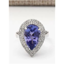 6.28 CTW Natural Blue Tanzanite And Diamond Ring In 18K White Gold