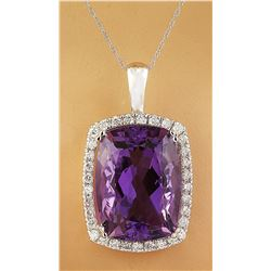 7.85 CTW Amethyst 14K White Gold Diamond Necklace