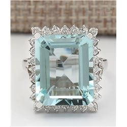 12.29 CTW Natural Aquamarine And Diamond Ring In 14k White Gold