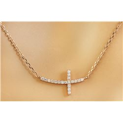 0.15 CTW Diamond 18K Rose Gold Cross Bar Necklace