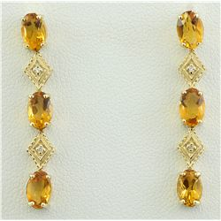 2.65 CTW Citrine 18K Yellow Gold Diamond Earrings