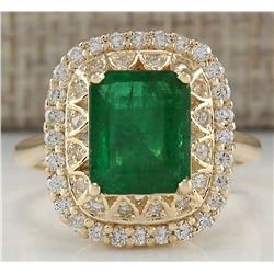 3.11CTW Natural Emerald And Diamond Ring In18K Solid Yellow Gold