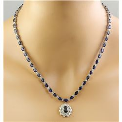 38.80 CTW Sapphire 14K White Gold Diamond Necklace