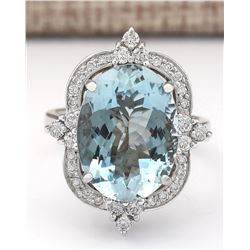 8.22 CTW Natural Aquamarine And Diamond Ring In 14k White Gold