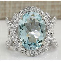 8.91 CTW Natural Aquamarine And Diamond Ring In 18K Solid White Gold