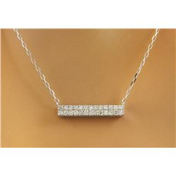 0.40 CTW Diamond 18K White Gold Double Bar Necklace