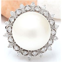 12.08 mm White South Sea Pearl 14K Solid White Gold Diamond Ring