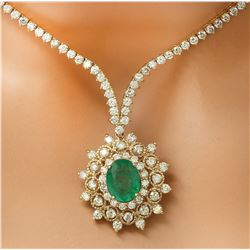 11.33 CTW Natural Emerald 14K Solid Yellow Gold Diamond Necklace