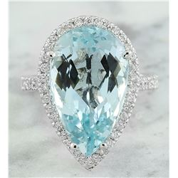 9.93 CTW Aquamarine 18K White Gold Diamond Ring