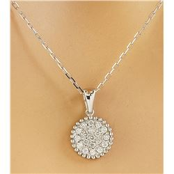 0.22 CTW Diamond 14K White Gold Medallion Pendant Necklace