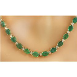 34.65 CTW Emerald 18K Yellow Gold Diamond Necklace